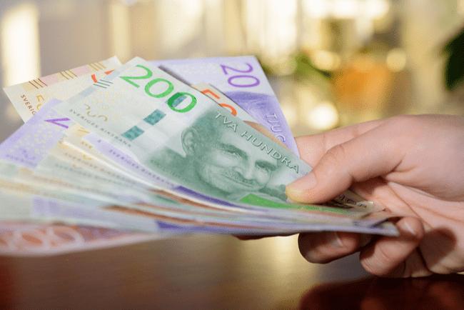 En bild på svenska pengar