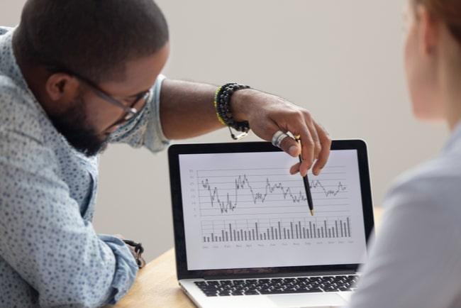Manlig analytiker visar ekonomisk rapport på laptop för kvinna.