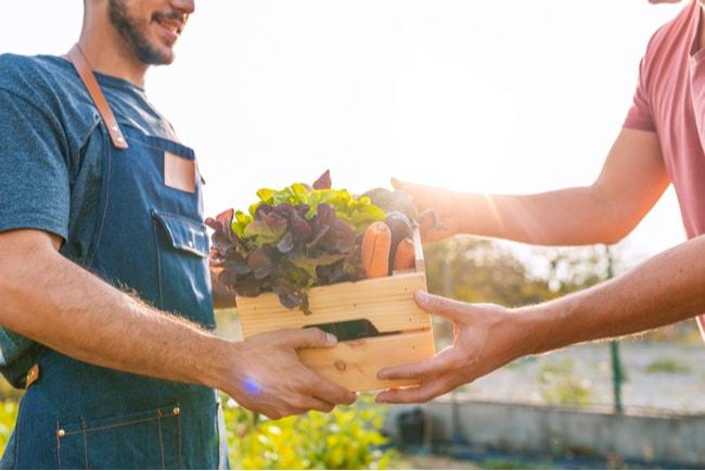 grönsakshandlare säljer produkter till kund en solig dag